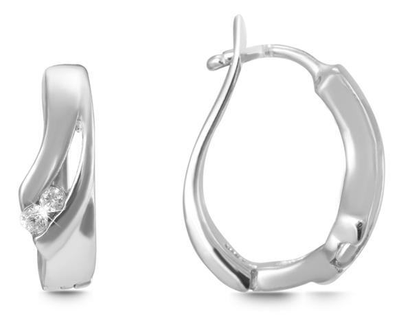 Giulia Luna Damen – Ohrringe 925er Silber rhodiniert Creole Strass GL5200058