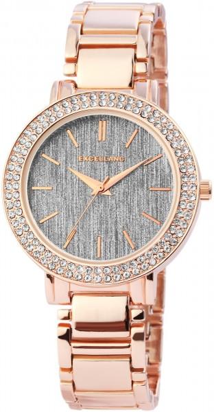 Excellanc Damen-Uhr Metallarmband Faltschließe Strass-Steine Analog Quarz 1800068