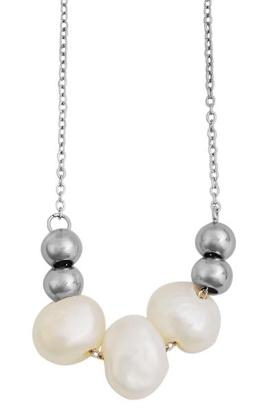 Akzent Damen - Halskette mit Steinen Edelstahl Ankerkette 43+5cm 5010277