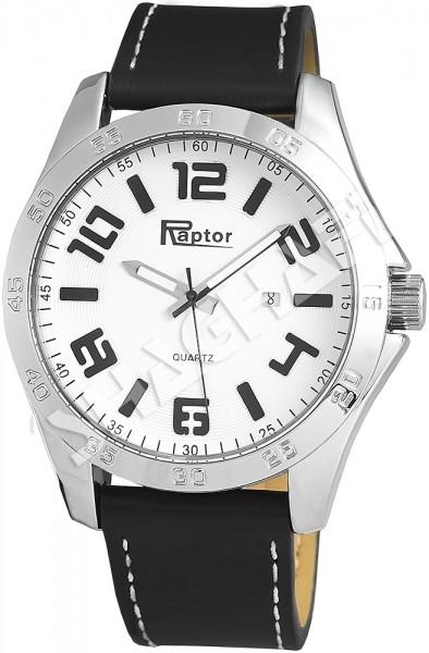Raptor Herren-Uhr Armband Oberseite Echtleder Datumsanzeige Analog Quarz RA20079