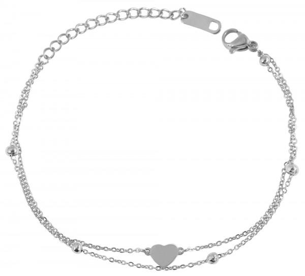 Akzent Damen - Armband Edelstahl Herz Motiv Länge 16 + 4 cm Stärke 3 mm 5030443