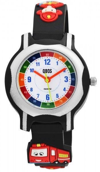 QBOS Kinder-Uhr Silikon Feuerwehr Lernuhr Analog Quarz 4500023