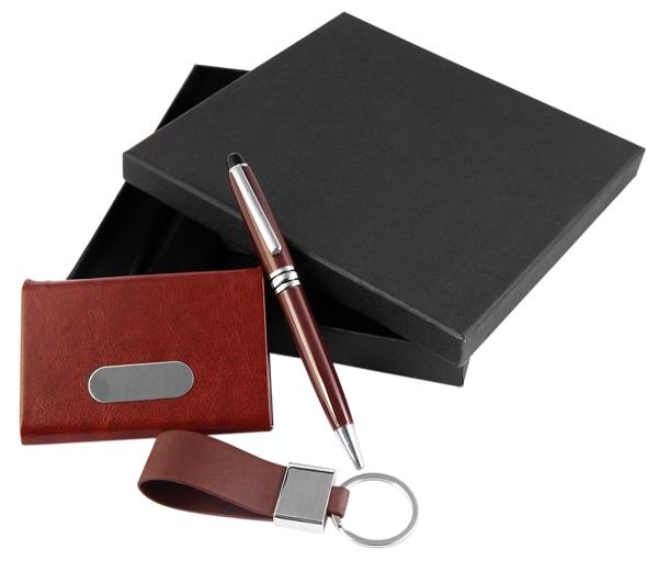 Geschenkset mit Kugelschreiber, Schlüsselanhänger und Kartenetui