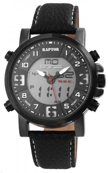 Raptor Herren-Uhr Echt Leder Datum 24 Stunden Alarm Analog Digital Quarz RA20310