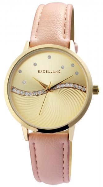 Excellanc Damen-Uhr Lederimitat Dornschließe Strass Analog Quarz 1900241