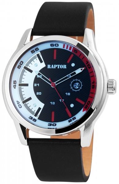 Raptor Herren-Uhr Echt Leder Armband Datum Leuchtzeiger Analog Quarz RA20286