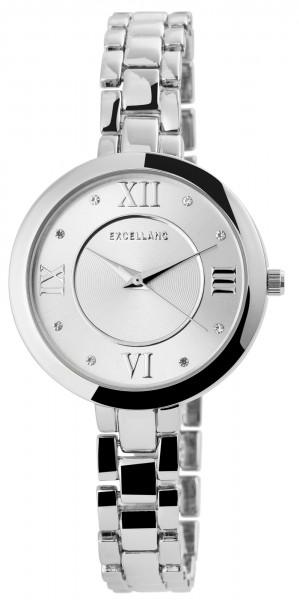 Excellanc Damen-Uhr Metallarmband Clipverschluss Strass-Steine Analog Quarz 1800070
