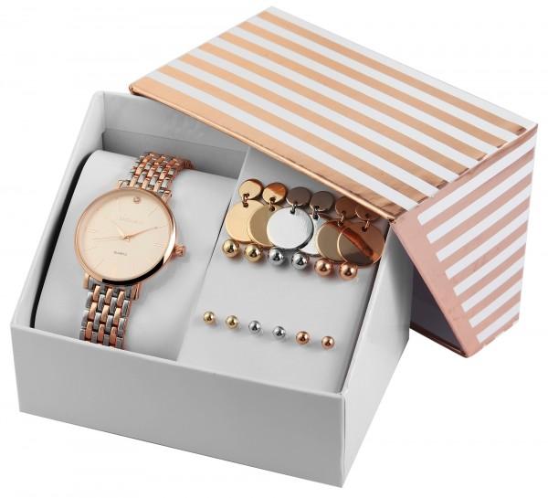 Excellanc Damen - Geschenkset Damenuhr Metallband mit unterschiedlichen Ohrsteckern 1800184