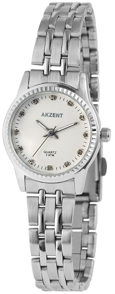 Akzent Damen - Uhr Edelstahl Glieder Armbanduhr Analog Quarz 1800006