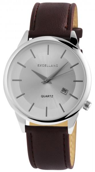Excellanc Herren-Uhr Lederimitat Dornschließe Datum Analog Quarz 2900178