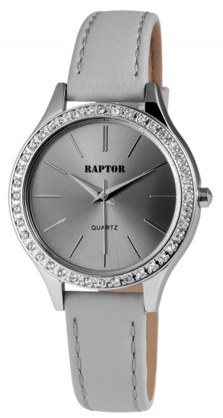 Raptor Damen - Uhr Oberseite Echt Leder Armbanduhr Strass Steine Analog Quarz RA10119