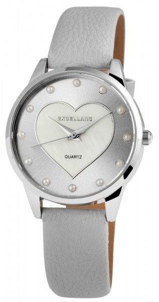 Excellanc Damen – Uhr Lederimitat Armbanduhr Herz Analog Quarz 1900009