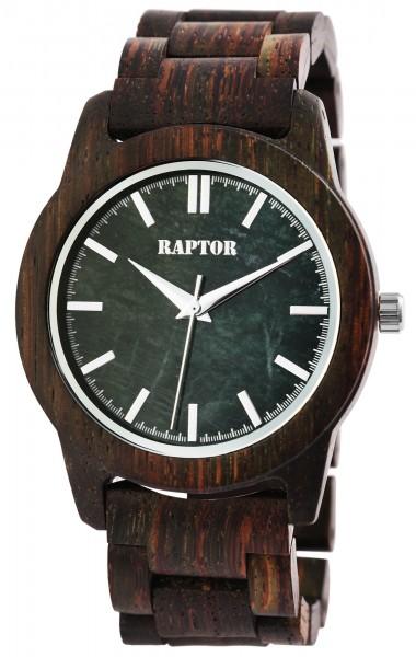 Raptor Herren-Uhr Holzuhr Natur Faltschließe Analog Quarz RA20323