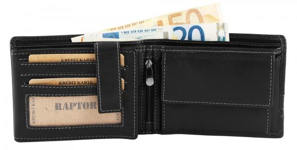 Raptor Herren Geldbörse aus Echtleder. Format 13 x 10 cm.
