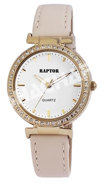 Raptor Damen-Uhr Armband Oberseite Echtleder Strass-Steine Analog Quarz RA10155