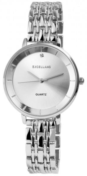 Excellanc Damen-Uhr Gliederarmband Metall Strass Clipverschluss Analog Quarz 1800147