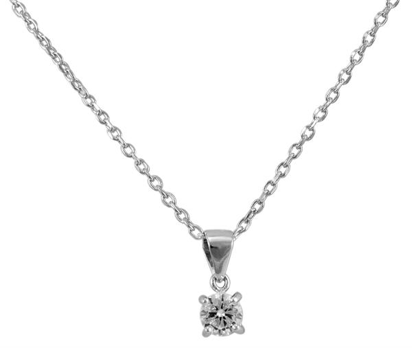 Giulia Luna Damen-Halskette Anhänger Solitär 925er Silber Strass GL5210021