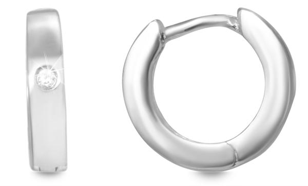 Giulia Luna Damen – Ohrringe 925er Silber rhodiniert Creole Strass GL5200054