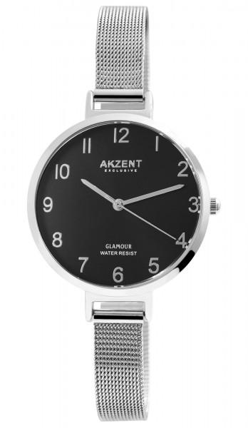 Akzent Exclusive Damen - Uhr Edelstahl Mesh Armbanduhr Analoganzeige Quarz 1300024