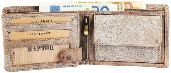 Raptor Herren-Geldbörse Echtleder Used Look Querformat 12x9cm RA40005