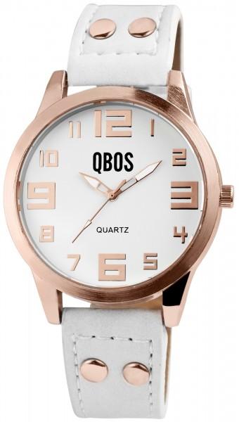 QBOS Damenuhr mit Lederimitationsarmband
