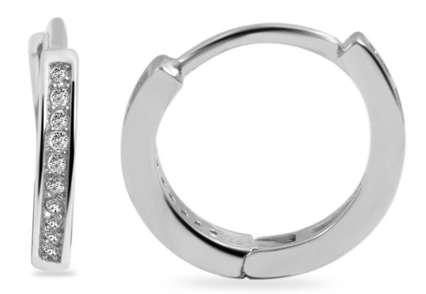 Giulia Luna Damen–Creolen 925er Silber Strass-Stein Ohrringe GL5200107