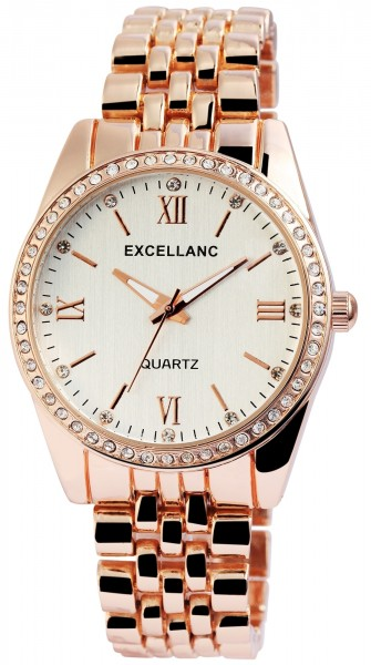 Excellanc Damen-Uhr Gliederarmband Metall Strass Faltschließe Analog Quarz 1800150