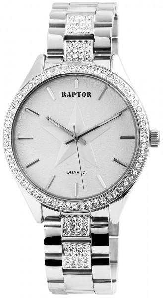 Raptor Damen-Uhr Edelstahl Armband Analog Quarz mit Strassbesatz RA10162-002