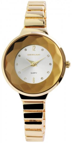 Excellanc Damen-Uhr Metallarmband Clipverschluss Strass Analog Quarz 1800091