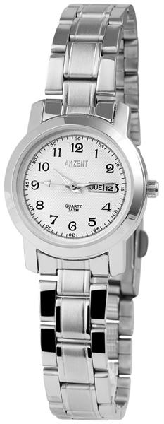 Akzent Damen - Uhr Edelstahl Armbanduhr Datum Analog Quarz 1800009