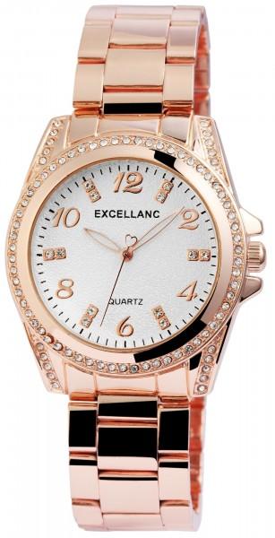 Excellanc Damen-Uhr Gliederarmband Leuchtzeiger Strass Analog Quarz 1800152