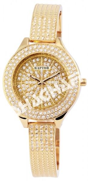 Raptor Damen-Uhr Metall Armband Strass-Steine Leuchtzeiger Analog Quarz RA10056