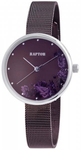 Raptor Damen-Uhr Milanaiseband Edelstahl Blumen Elegant Analog Quarz RA10181