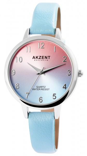 Akzent Exclusive Damen - Uhr Lederimitat Armbanduhr Dornschließe Analog Quarz 1900233