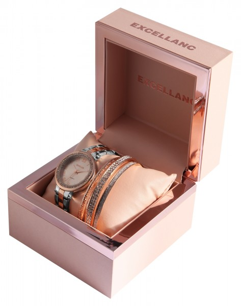 Excellanc Damen - Geschenkset Damenuhr mit modischen Armreifen 1800182
