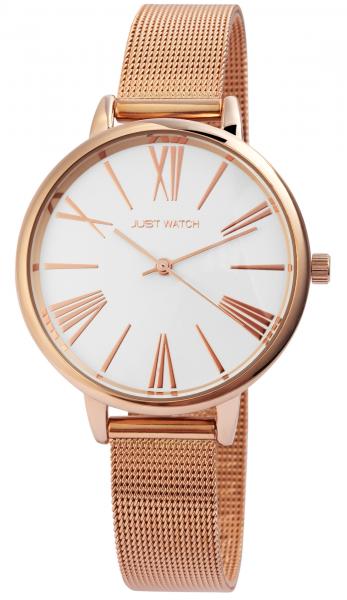 Just Watch Damen-Uhr Meshband Edelstahl Hakenverschluss Analog Quarz JW10077