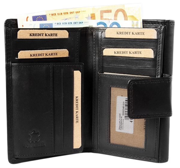 Akzent Damen - Geldbörse Echt Leder Portemonnaie Querformat 13,5x 10,5cm 3000248