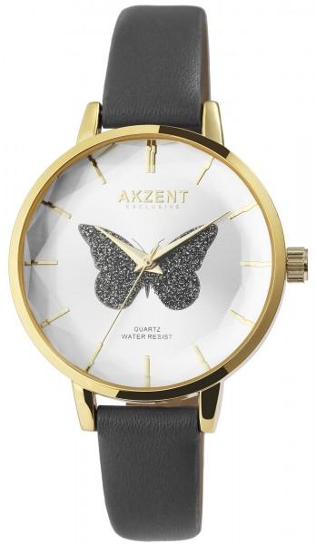 Akzent Exclusive Damen-Uhr Lederimitatband Schmetterling Analog Quarz 1900250