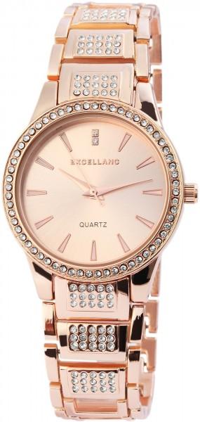 Excellanc Damen-Uhr Metallarmband Clipverschluss Strass-Steine Analog Quarz 1800071