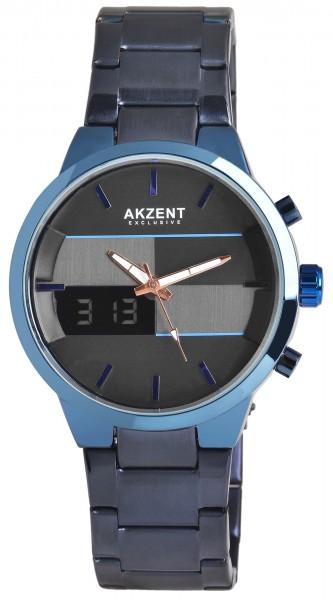 Akzent Exclusive Herren - Uhr Metall Armbanduhr Analog-Digatal Anzeige Quarz 2800075