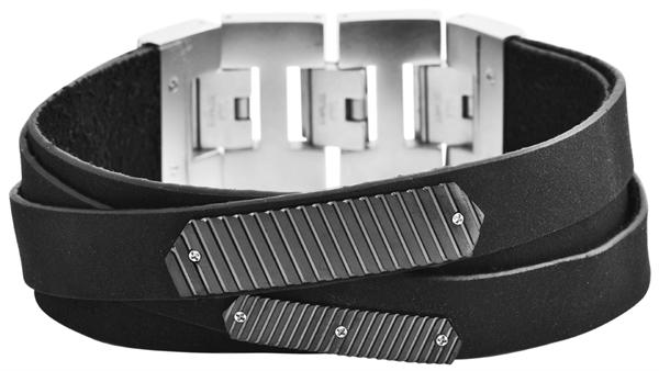 Raptor Herren-Armband Echt Leder Edelstahl Mode Trend 20 cm + 3 cm RA50015