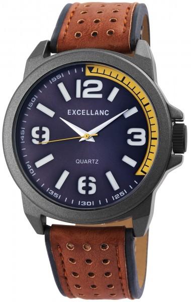 Excellanc Herren-Uhr Lederimitat Dornschließe Analog Quarz 2900102