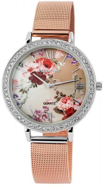 Excellanc Damen – Uhr Mesharmband Edelstahl Strass Analog Blumen Quarz 1800093