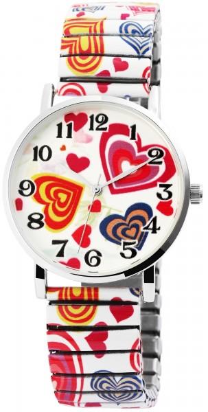 Excellanc Damen – Uhr Zugband Metall Armbarmbanduhr mit Muster Analog Quarz 1700035