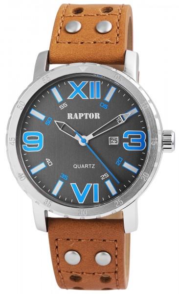 Raptor Herren-Uhr Oberseite Echtlederarmband Datumsanzeige Quarzwerk RA20114