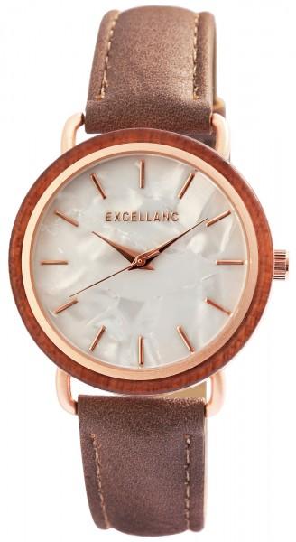 Excellanc Damen – Uhr Lederimitations Armbanduhr Holz-Ring Analog Quarz 1900244
