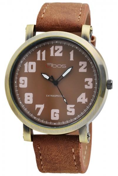 QBOS Herren-Uhr Lederimitat Dornschließe rund schlicht Analog Quarz 2900176