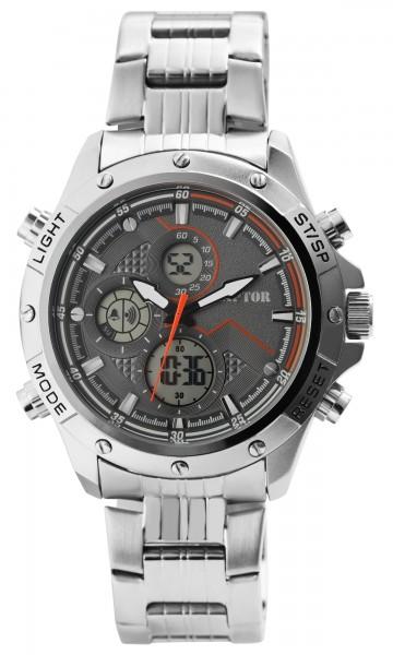 Raptor Herren-Uhr Edelstahl Chronograph Leuchtzeiger Datum Analog Digital RA20320