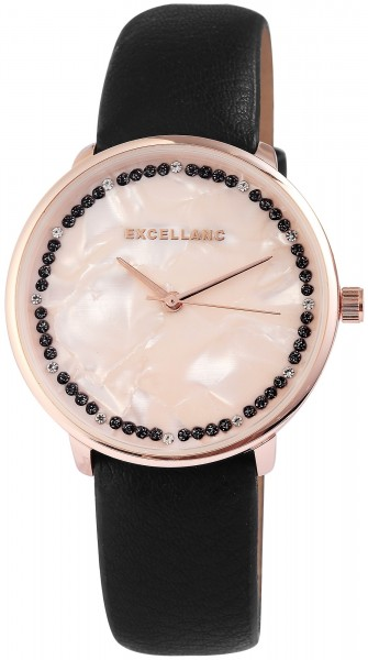 Excellanc Damen-Uhr Lederimitat Strass Dornschließe Analog Quarz 1900091