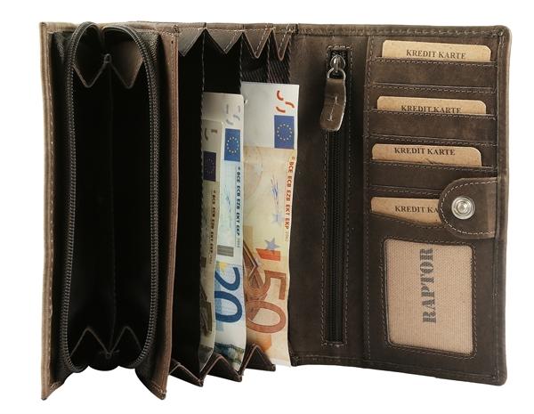 Raptor Damen-Geldbörse Echtleder Used Look 17x10cm Querformat RA40038